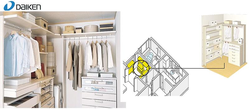 機能的で整理整頓がラクラク  ウォークインクローゼット 衣類はもちろん帽子やバッグ、小物までさまざまなモノが、機能的に取り出しやすく整理できます。